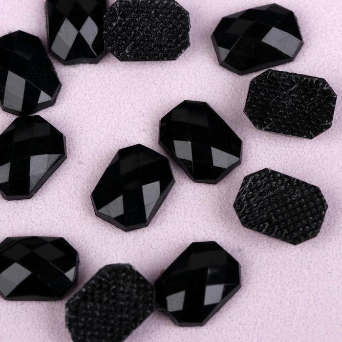 Стразы термоклеевые «Прямоугольник», 6 × 8 мм, 50 шт, цвет чёрный