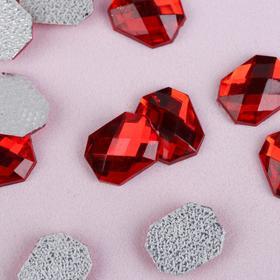 Hot glue rhinestones Rectangle, 50pcs, 8 x 10mm, color red