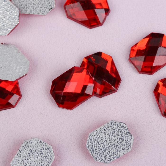 Стразы термоклеевые «Прямоугольник», 8 × 10 мм, 50 шт, цвет красный - фото 698992228