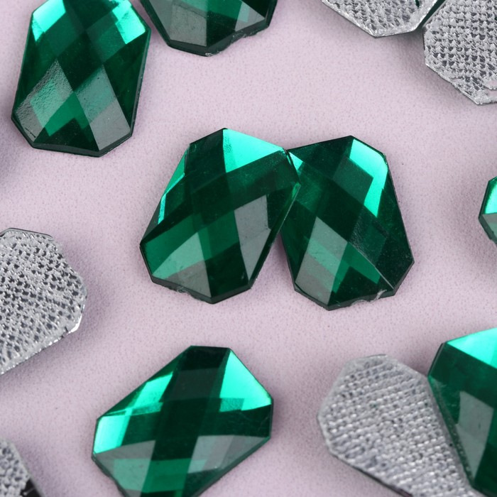 Стразы термоклеевые «Прямоугольник», 10 × 14 мм, 20 шт, цвет зелёный - фото 702136592