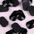 Стразы термоклеевые «Прямоугольник», 10 × 14 мм, 20 шт, цвет чёрный