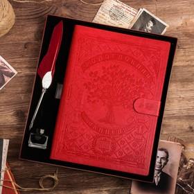 """Подарочный набор """"Родословная книга нашей семьи"""" с пером и чернильницей"""