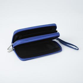 Кошелёк женский, 3 отдела на молниях, с ручкой, цвет синий - фото 55507