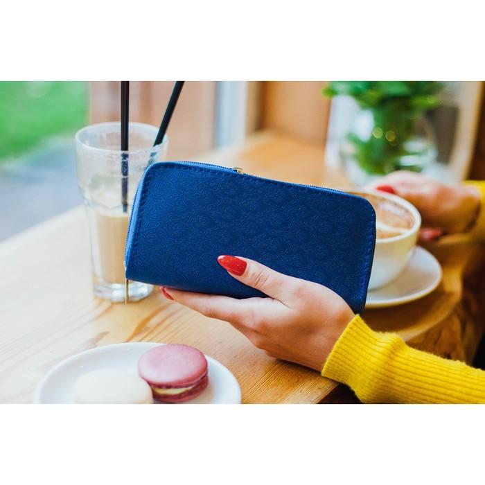 Кошелёк женский, 3 отдела на молниях, с ручкой, цвет синий - фото 55504