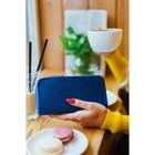 Кошелёк женский, 3 отдела на молниях, с ручкой, цвет синий - фото 55508