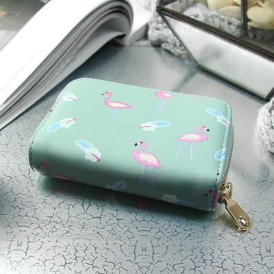 Визитница «Фламинго», горизонтальная, 1 ряд, 9 картхолдеров, цвет мятный
