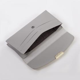 Кошелёк женский, 2 отдела на клапане, с ручкой, цвет серый - фото 55571