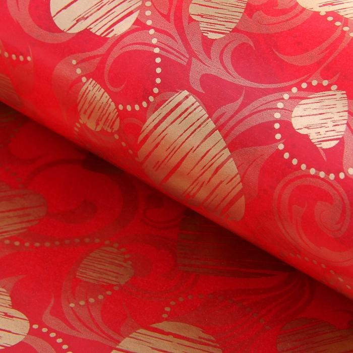 """Бумага упаковочная двухсторонняя """"Сердце с завитками"""", цвет красный"""