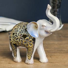 """Сувенир полистоун световой """"Жемчужный слон в цветочной золотой попоне"""" 17,5х18,5х7 см"""