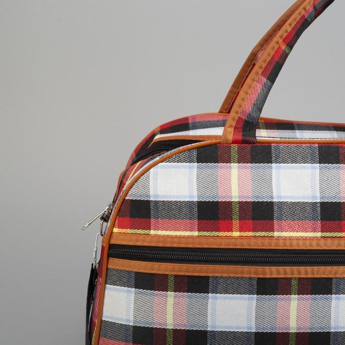 Сумка дорожная, отдел на молнии, наружный карман, длинный ремень, цвет чёрный/красный