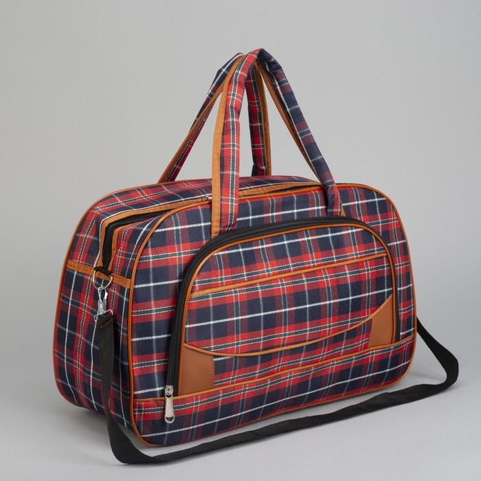 Сумка дорожная, отдел на молнии, наружный карман, длинный ремень, цвет красный/синий