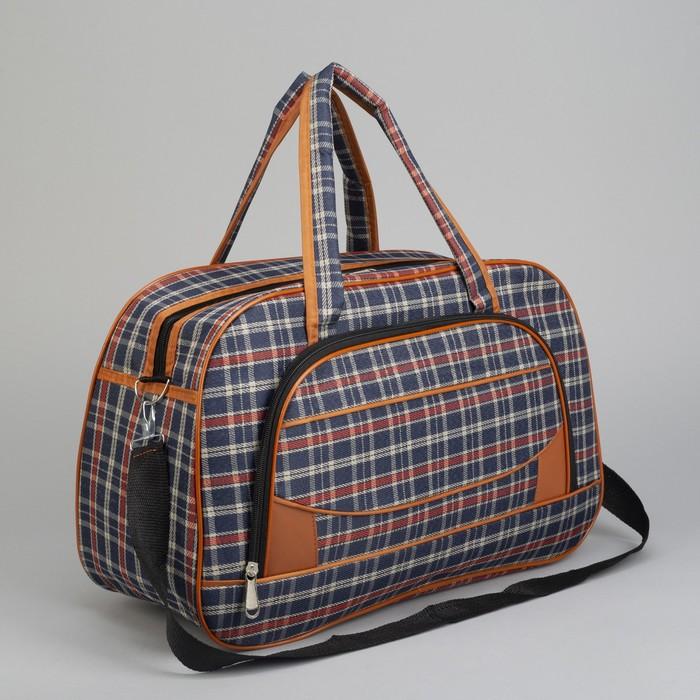 Сумка дорожная, отдел на молнии, наружный карман, длинный ремень, цвет синий/красный