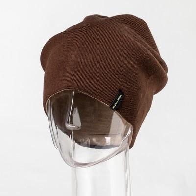 "Шапка мужская ""Маттео"" цвет коричневый,бежевый, р-р 56"