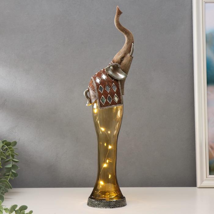 """Сувенир полистоун, стекло световой """"Королевский слон"""" 46,5х13х8 см - фото 798077420"""