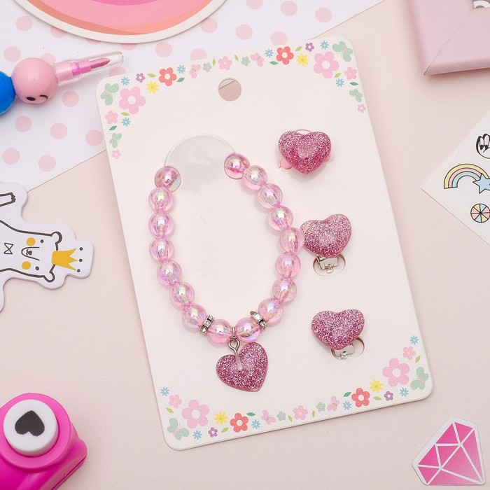 Набор детский 3 предмета: клипсы, браслет, кольцо, сердечки, цвет светло-розовый - фото 689350825