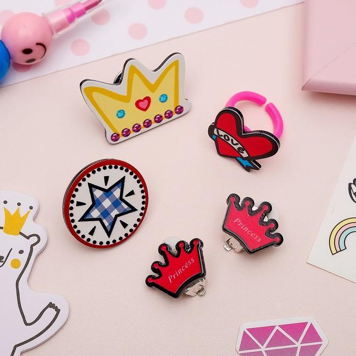 Набор детский 4 предмета: 2 значка, клипсы, кольцо, королева, цветной - фото 408656529
