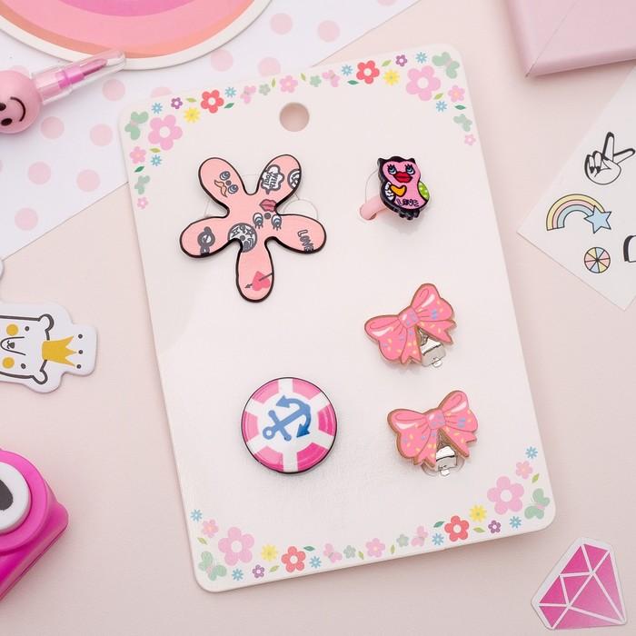 Набор детский 4 предмета: 2 значка, клипсы, кольцо, гёрл, цвет розовый - фото 408656537