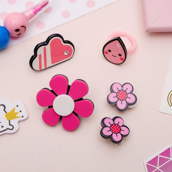 Набор детский 4 предмета: 2 значка, клипсы, кольцо, цветочки, цвет розовый - фото 450067246