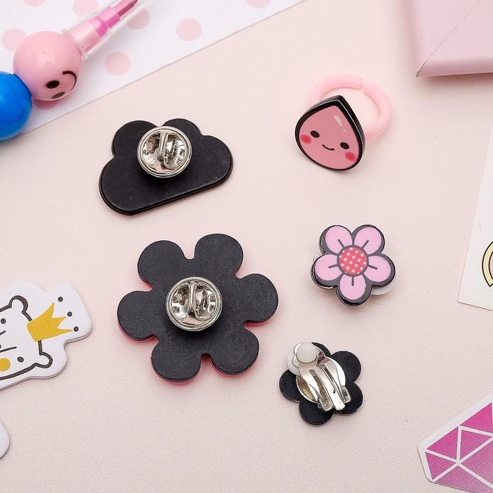 Набор детский 4 предмета: 2 значка, клипсы, кольцо, цветочки, цвет розовый - фото 450067247