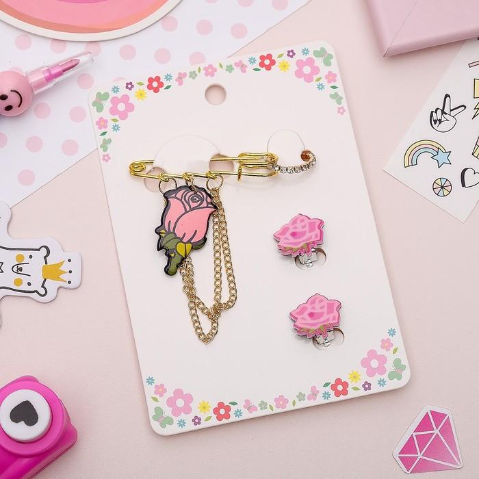 Набор детский 3 предмета: булавка, клипсы, кольцо, розы, цвет розовый в золоте