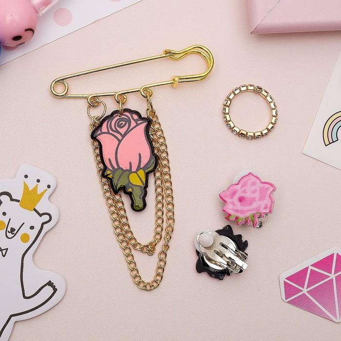 Набор детский 3 предмета: булавка, клипсы, кольцо, розы, цвет розовый в золоте - фото 415552148