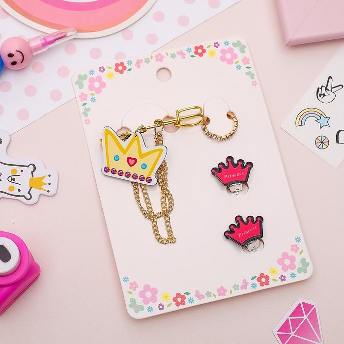 Набор детский 3 предмета: булавка, клипсы, кольцо, принцесса, цветной в золоте - фото 418284999