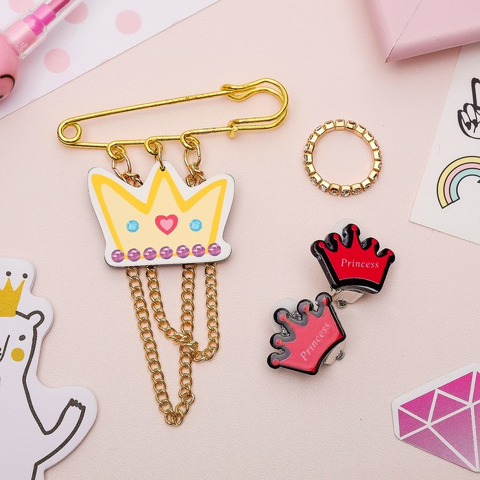 Набор детский 3 предмета: булавка, клипсы, кольцо, принцесса, цветной в золоте - фото 418285000