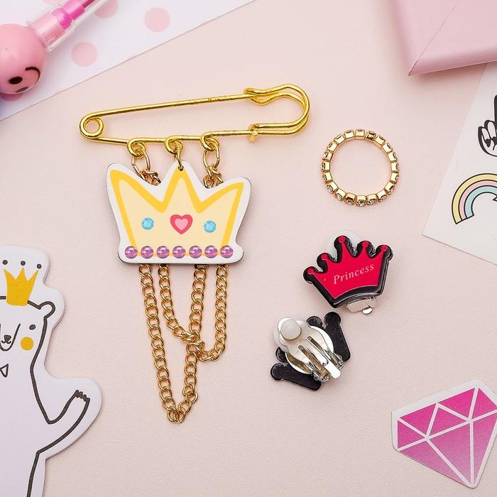 Набор детский 3 предмета: булавка, клипсы, кольцо, принцесса, цветной в золоте - фото 418285001
