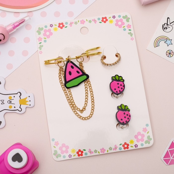 Набор детский 3 предмета: булавка, клипсы, кольцо, фруктики, цветной в золоте - фото 509541831
