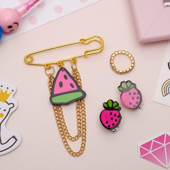 Набор детский 3 предмета: булавка, клипсы, кольцо, фруктики, цветной в золоте - фото 509541832