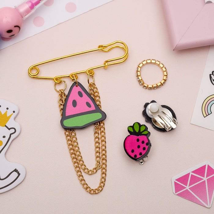 Набор детский 3 предмета: булавка, клипсы, кольцо, фруктики, цветной в золоте - фото 509541833