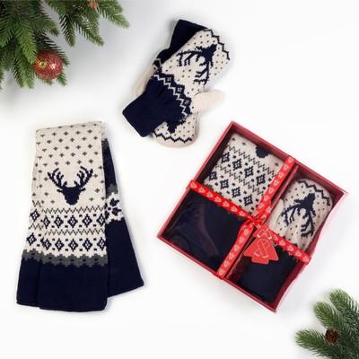 """Подарочный набор KAFTAN """"Северный олень"""" шарф 145 х 14 см, варежки р-р 19"""