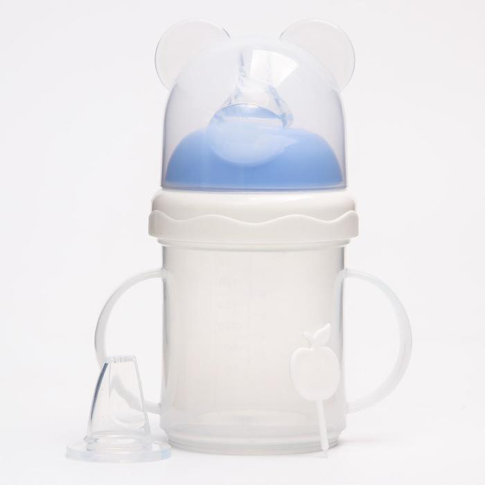 Бутылочка-поильник для кормления 2 в 1, 230 мл, от 0 мес., две соски в комплекте, цвета МИКС - фото 977763