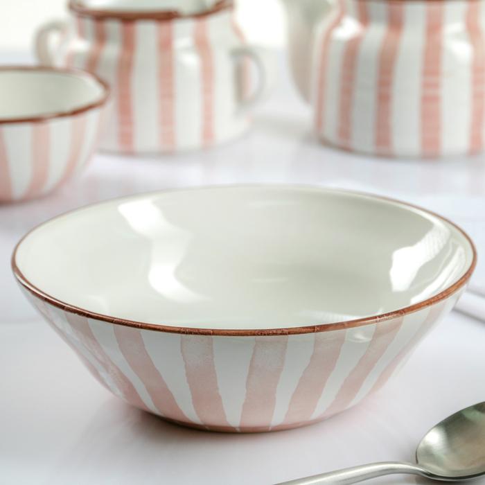 """Тарелка глубокая 20 см """"Страйп розовый"""", 500 мл - фото 180991848"""