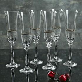 Набор бокалов для шампанского Bohemia Crystal «Анжела», 190 мл, 6 шт