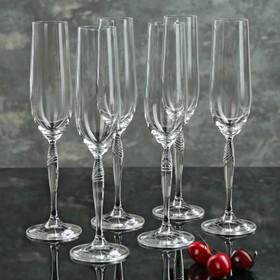 Набор бокалов для шампанского Bohemia Crystal «Кейра», 195 мл, 6 шт