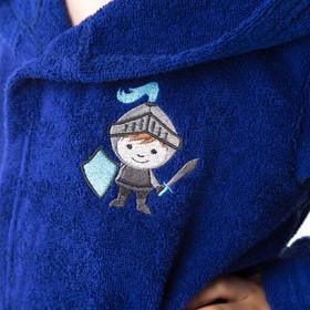 Халат махровый детский Рыцарь, размер 32, цвет синий, 340 г/м² хл. 100% с AIRO - фото 1394977