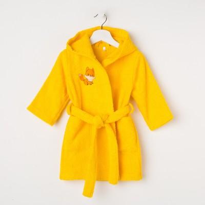 Халат махровый детский Лисёнок, размер 32, цвет жёлтый, 340 г/м² хл. 100% с AIRO