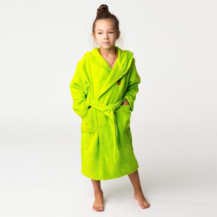 Халат махровый детский Кактус, размер 34, цвет салатовый, 340 г/м² хл. 100% с AIRO