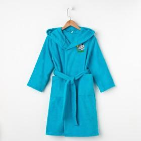 Халат махровый детский Победитель, размер 36, цвет морской, 340 г/м² хл. 100% с AIRO