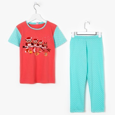 Пижама для девочки, цвет коралловый, рост 110-116 см (32)