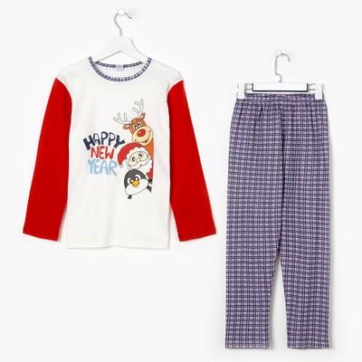 Пижама для мальчика, цвет красная клетка, рост 134-140 см (38)