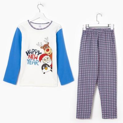 Пижама для мальчика, цвет голубая клетка, рост 116-122 см (34)