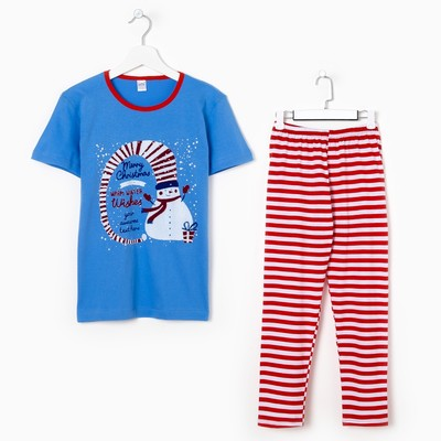 Пижама для мальчика, цвет красная полоска, рост 98-104 см (28)