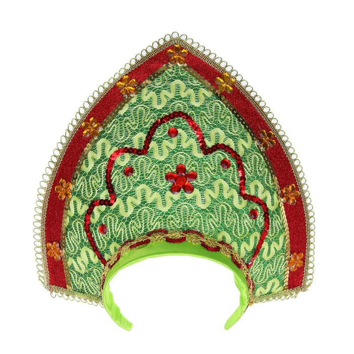 Карнавальный кокошник «Вдохновение», цвет красно-зелёный