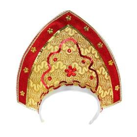 Карнавальный кокошник «Вдохновение», цвет золотисто-красный