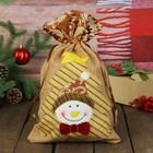 """Мешок для подарков """"Снеговик"""" ёлка со звездой, на завязках"""
