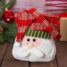 Сумочка для подарков «Дед Мороз», шапочка в клетку