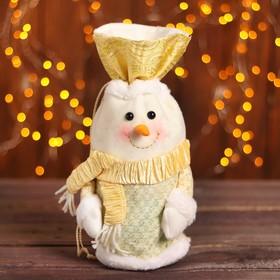 Мешок для подарков «Снеговик в шарфе», на завязках, цвет бежевый