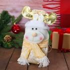 Мешок для подарков «Оленёнок в шарфе», на завязках, цвет бежевый